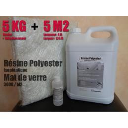 KIT Résine Polyester 5KG & Mat 300- 5M2